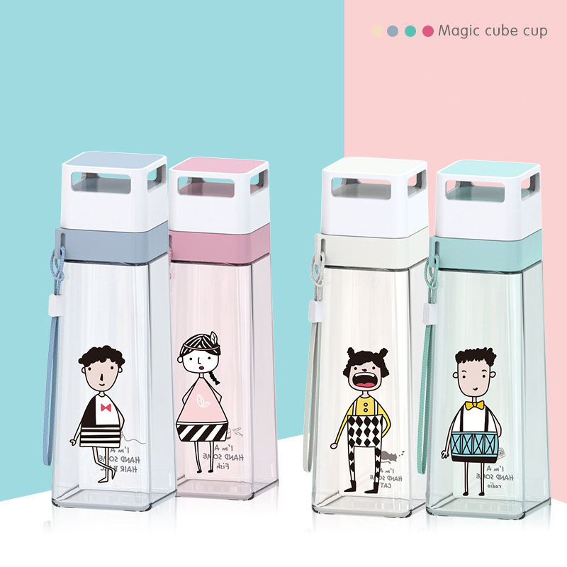 500//1000ml Portable Plastic Transparent Juice Water Bottles with Cloth Bags