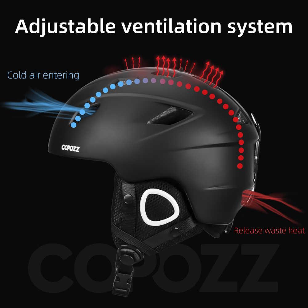 Легкий лыжный шлем COPOZZ 2021 с сертификатом безопасности, цельнолитой шлем для сноуборда, езды на велосипеде, катания на лыжах, снега для мужчин, женщин, мужчин, детей