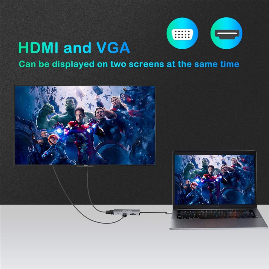 Image 5 - Thundebolt 3 type c to HDMI 4K USB3.0 hub USB C to VGA SD TF card Reader with PD Charger For Macbook Pro Samsung S9Type-C Adapter   -
