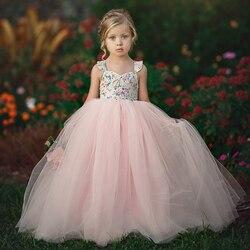 1-7 anos crianças meninas vestido de princesa noite festa de aniversário casamento tule tutu vestidos roupas da menina do bebê verão longo maxi vestido