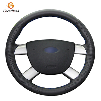 Hand-stitched Black Genuine leather  Steering Wheel Cover for Ford Kuga 2008-2011 Focus 2 2005-2011 C-MAX 2007-2010