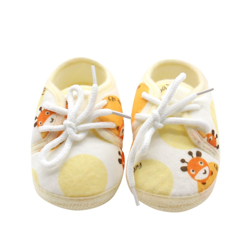 0-18M Newborn Autumn Infant Cotton Printed Lace-up Casual Shoes  Baby Soft Bottom Shoes Leisure Outdoor Shoes