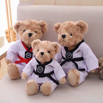 1pc 30cm Cute Taekwondo Teddy Bear Plush Toys Stuffed Kawaii Animal Bear Doll Creative Gift Toy for Children Birthday creative cute cartoon deer short plush toy stuffed animal plush doll toys children birthday