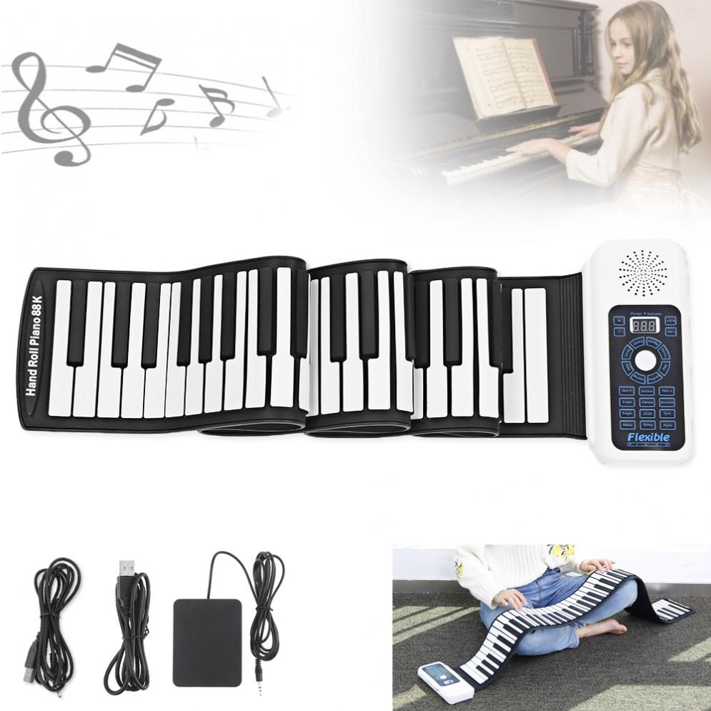 SLADE 88 Keys USB MIDI Roll Up Piano Electronic Portable Silicone Flexible Keyboard Organ Built-in Speaker With Sustain Pedal