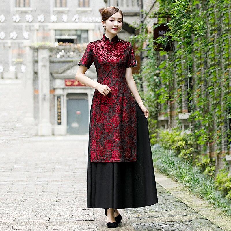 สีดำสีแดง AO Dai สตรี Velour Cheongsam ยาว Vintage สไตล์จีนแมนดารินชุดฤดูใบไม้ผลิ Slim Qipao Vestido S 3XL-ใน ชุดเดรส จาก เสื้อผ้าสตรี บน   1