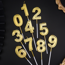 1 pcs Gold Number Birthday Numeral Candles cake Party Decorations Adults/Kids 0-9 uninflated Decor