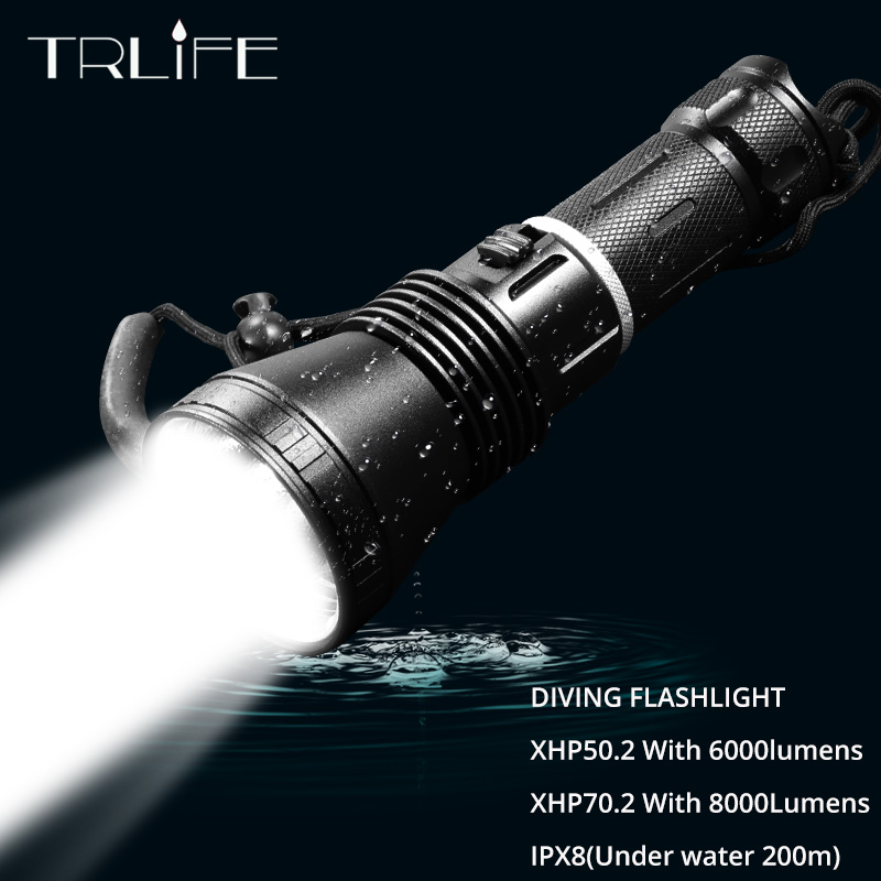 TRLIFE Newest XHP70.2 Scuba Dive LED Flashlight Diving Light Powerful XHP50.2 Super Bright 8000lm Flash Light Switch 1 Modes
