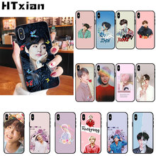 HTXian KPOP fashion Jimin Suga RM TPU Soft Silicone Black Phone Case for iPhone 11 pro XS MAX 8 7 6 6S Plus X 5 5S SE XR cover(China)