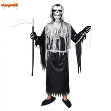 Halloween Mr.Grim Costume Cosplay Adult Horror Death Ghost Costume Halloween Costumes for Men Demon Purim Scary Zombie Suit halloween costume adult demon ghost zombie clothing set scary costumes horror vampire corpse performance clothes