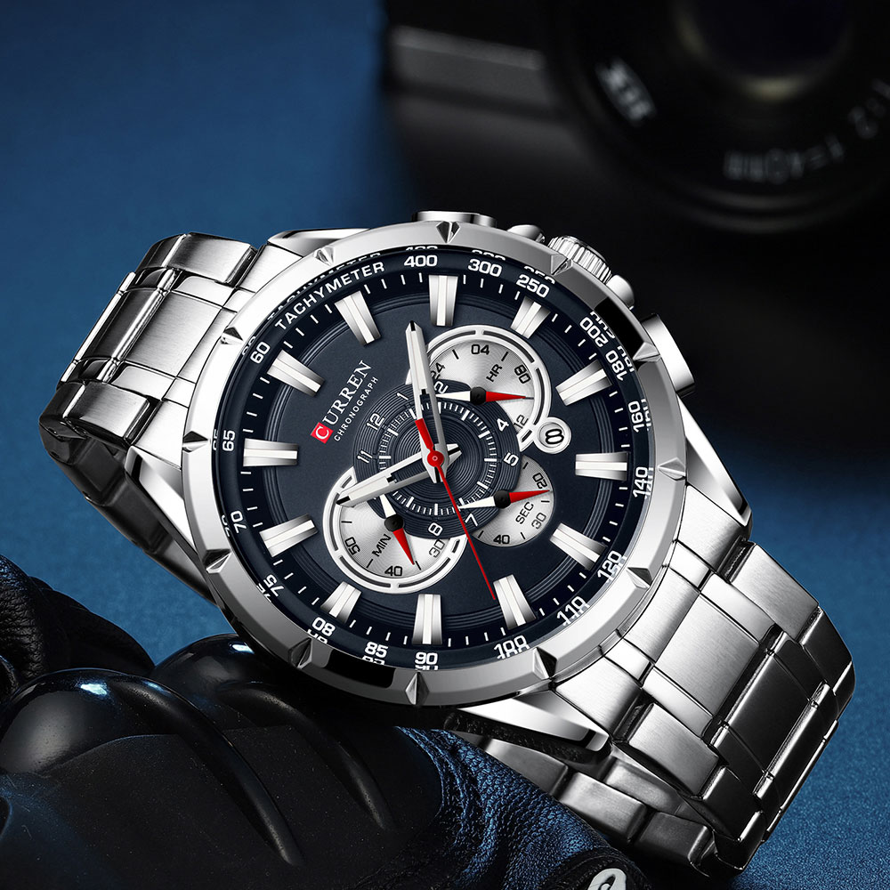 Hfae402d5a6994cd2a9a6f1bfea74a262v CURREN Wrist Watch Men Waterproof Chronograph Military Army Stainless Steel Male Clock Top Brand Luxury Man Sport Watches 8363
