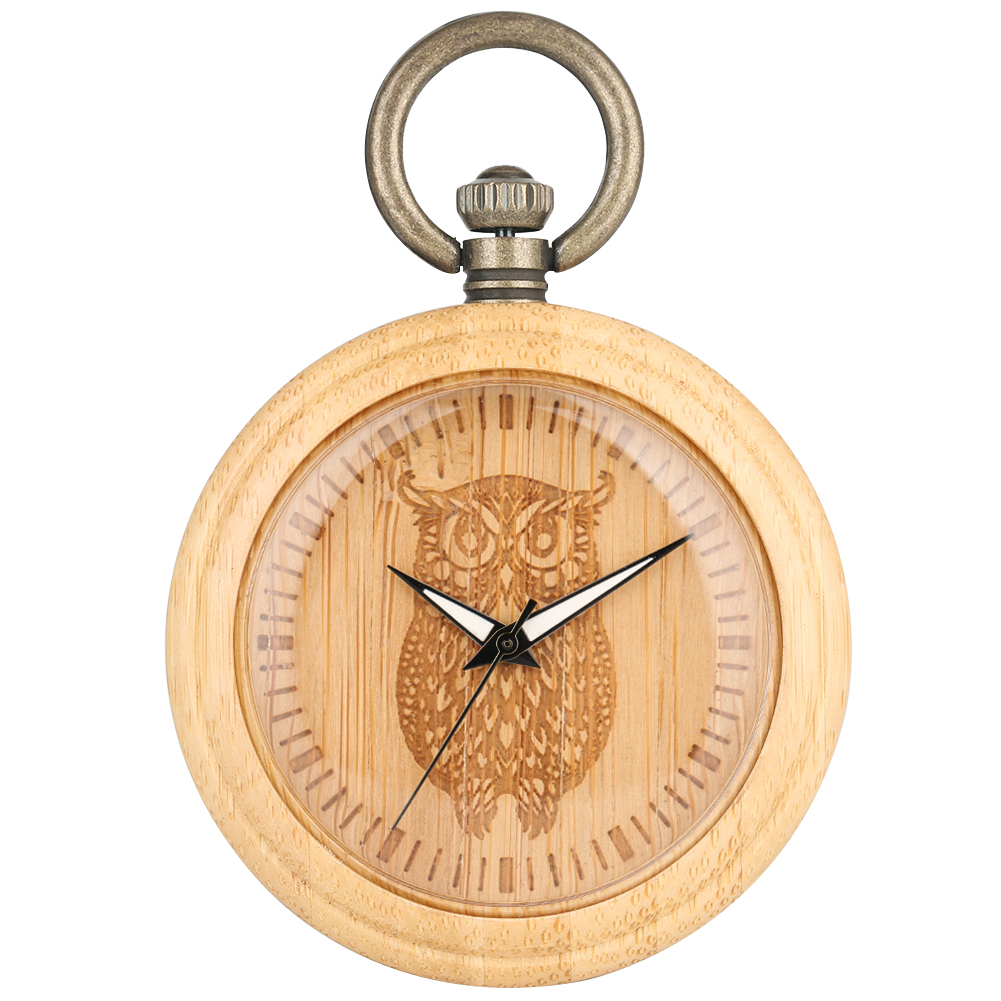 Cute Owl Pocket Watch Bamboo Necklace Special Carved Wooden Dial Bronze Rough Chain Pendant Clock Male Female Reloj Bolsillo