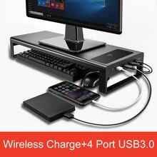 Soporte de Monitor de aleación de aluminio, Base para ordenador, mesa con concentrador de 4 Usb 3,0, soporte de escritorio inalámbrico de carga para ordenador portátil