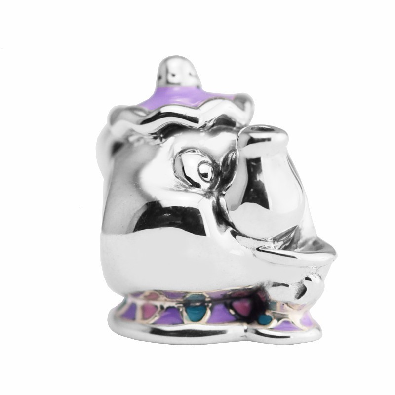 Authentic S925 Sterling Silver Mrs. Potts Chip Charm Mixed Enamel Bead Fit Pandora European Beads Charms  Bracelets Jewelry