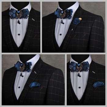 Fashion Mens Luxury British Diamond Bow Tie Set Formal Business Grooms Wedding Bowtie Party Jacquard Gems Suits Necktie