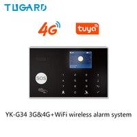 Tuya 433MHz 3G 4G WiFi Wireless Home Sicherheit Einbrecher Alarm System Mit PIR Motion Sensor Tür Sensor sirene Unterstützung Android iOS