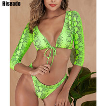 Riseado Sexy Long Sleeved Bikinis Two-piece Swimsuit Crop Top Swimwear Women Print biquini Beach Wear Brazilian