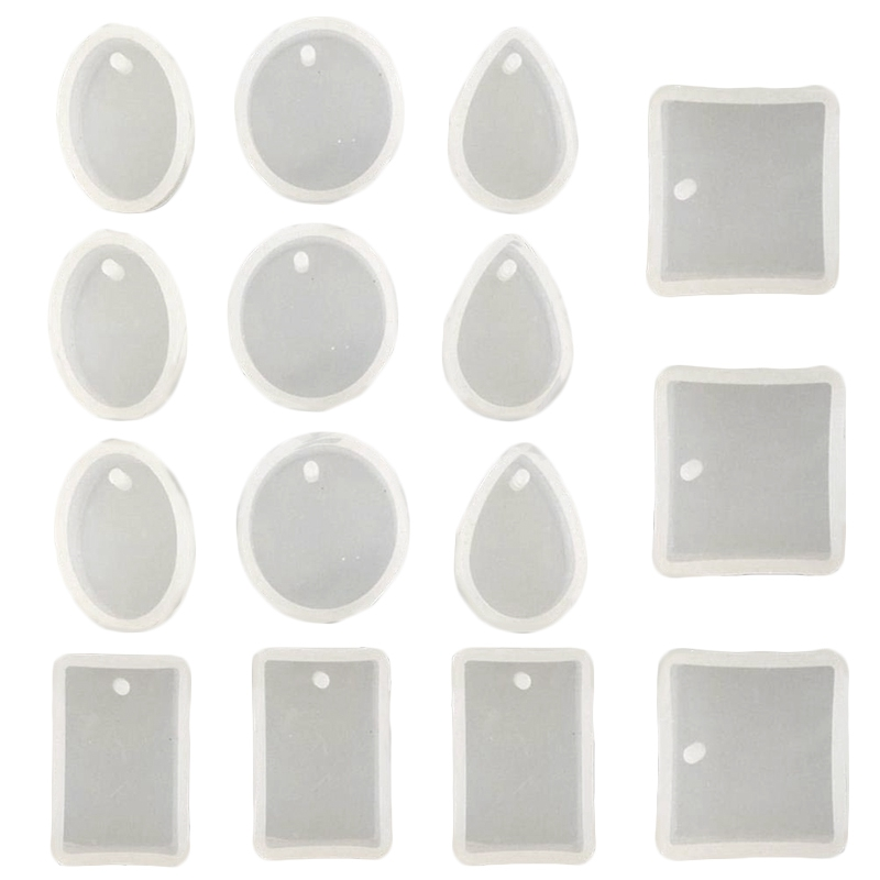 15 Pack Silicone Resin Pendant Mould Jewellery Molds With Hanging Hole For Diy Jewelry Craft Making 5 Shapes