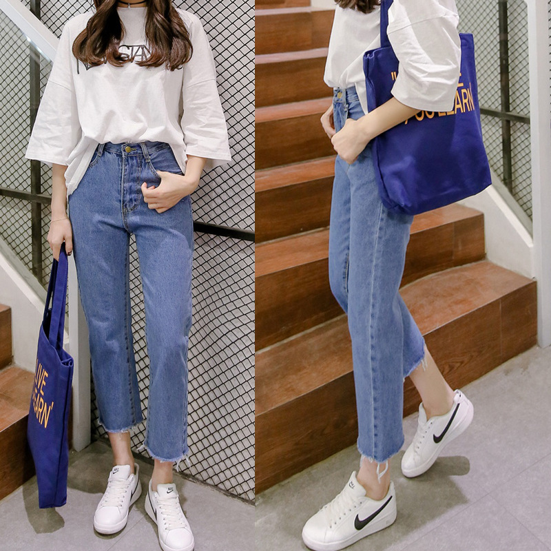 New Blue Jeans For Women High Waist Harem Mom Jeans Spring 2019 Plus Size Women Jeans Casual Straight Denim PantsBbeige Blue