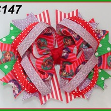B 60 шт. Рождественский бант для волос карамельный тростник бант Санта заколка для волос оленьи рожки на ободке красные и зеленые банты для волос