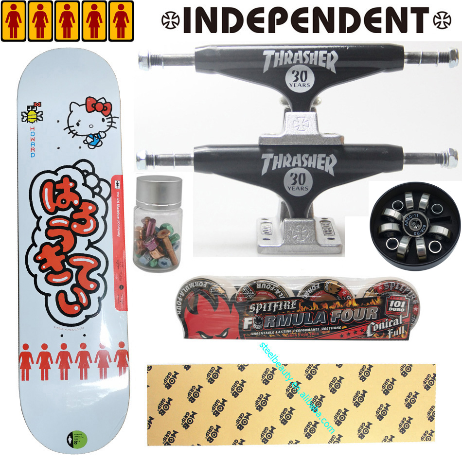 Whole Kit Independent Trucks Spitfire Wheels MOB Grip Tape Girl Hello Kitty Skateboard Decks Super Good Quality
