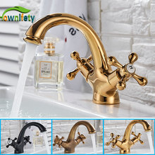 Grifo de baño pulido dorado de latón macizo, grifo de fregadero montado en cubierta, grifo mezclador de agua caliente y fría