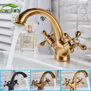 Image 1 - Robinet de salle de bain en laiton massif doré robinet de lavabo robinet mitigeur monté sur pont eau chaude et froide