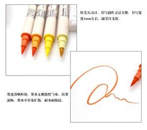 Image 5 - ZIG Kuretake MS 7700, водостойкая кисть для кисти, Цветная кисть с двумя кончиками, 4 шт., набор маркеров, Япония
