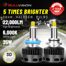 Bullvision H7 Led Koplamp 22000LM 6000K Hid D1S D2S D3S D4S D2H H1 H11 HB3 HB4 9005 9006 H8 360 ° Csp Chip Ice Lamp Foutloos