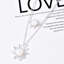 2pcs/set Trendy Sun Flower Sliver Color Necklace Boho Gold Pendant  Statement Choker Necklaces for Women Gifts Jewelry