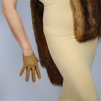 Ultra-Short Leather Gloves 16cm Wrist Simulation Leather Faux Leather Sheepskin Khaki Light Brown Rice Camel  Color PUTS16 takasago brown rice шампунь