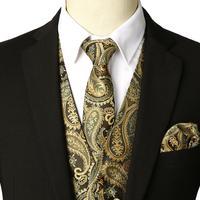 3 Pcs New Designer Men Classic Paisley Waistcoat Vest Set with Necktie Handkerchief for Wedding Party Club