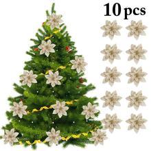 10 шт. искусственные цветы для украшения блестки Poinsettia поддельные цветы DIY домашние свадебные декорации цветок голова Рождество