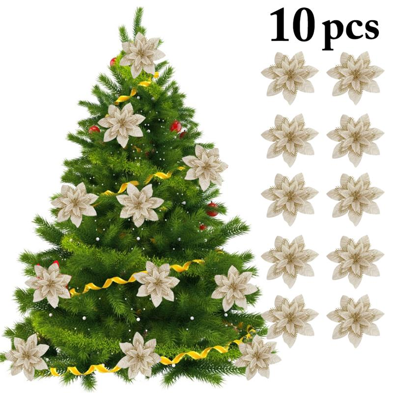 10pcs Artificial Flowers For Decoration Glitter Poinsettia Fake Flowers DIY Home Wedding Decoration Flower Head Christmas