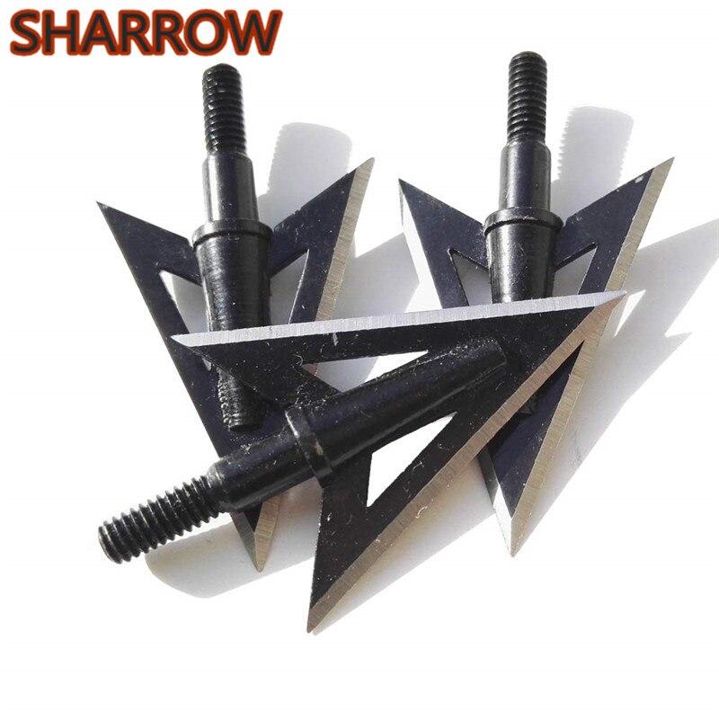 6x Hunting Archery Broadheads 100 Grain 3 Blade Arrow Heads Tips Shooting Points