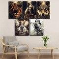 Плакат с животными, современная картина с изображением волка, слона, настенное искусство, картина с изображением животных, плакат, Картина н...