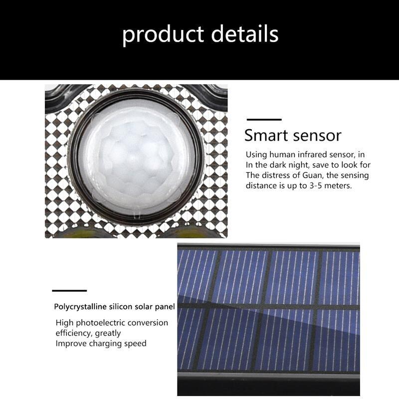 Solar LED Light Outdoor Motion Sensor Solar Powered Garden Lamp 3 Heads Remote Control Waterproof Wall lamp For Garden Street