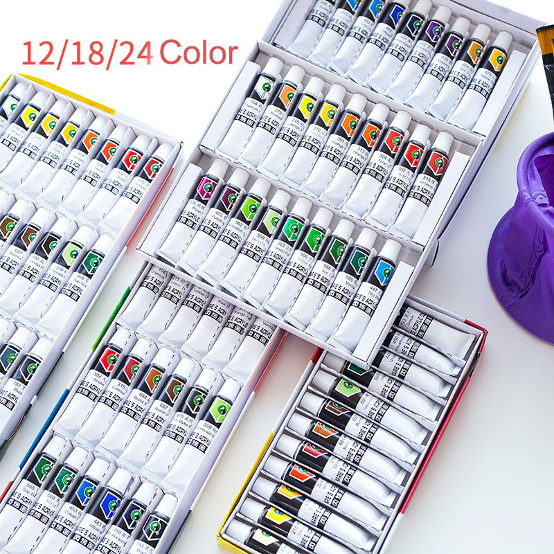 Acrylic Paint 12/18/24/36 Color Beginner Hand Painted Wall Color Set Acrylic 12ML Diy Pigment Art Supplies