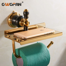 new luxury Wall Mounted brass gold paper box roll holder toilet paper holder tissue box Bathroom Accessories XL-66807 цена