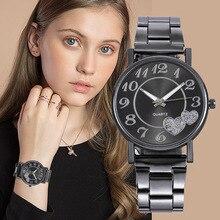 цена на Fashion Brand Women Wristwatch Stainless Steel Watchband Quartz Watch Heart Pattern Lady Watch Clock