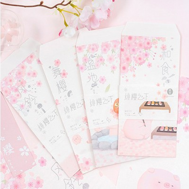 MIRUI Lovely A4 Envelope Stationery Sets Including 12 Envelopes And 24 Letter Paper Creative Flower Paper Letter Cherry Blossoms