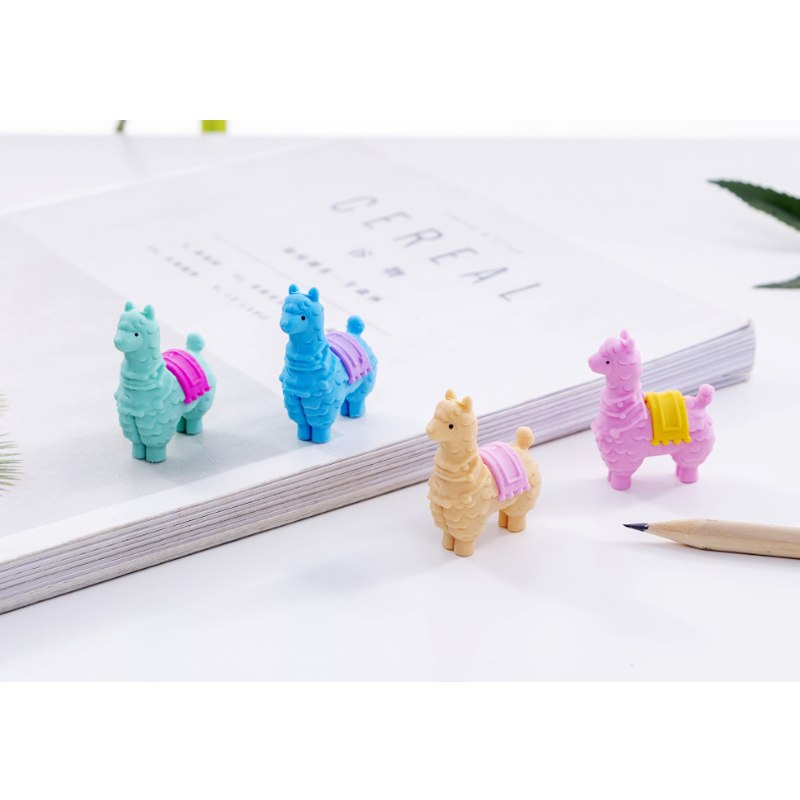 36pcs/lot Cute Little Alpaca Cartoon Animals Erasers Rubber For Kids Girls Gift School Office Supplies Stationery