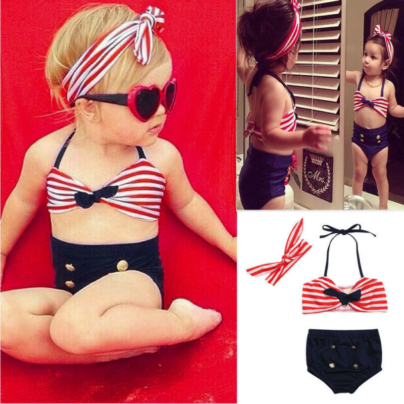 Summer Kids Swimwear Kids Baby Girl Striped Tops Brief  Bikini 2pcs Set+Headband Swimwear Swimsuit Beachwear Suit