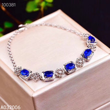 KJJEAXCMY fine jewelry 925 sterling silver inlaid natural sapphire bracelet delicate female classic bracelet support testing luxurious natural sri lanka sapphire bracelet 2 ct natural blue sapphire gemstone bracelet solid 925 sterling silver bracelet