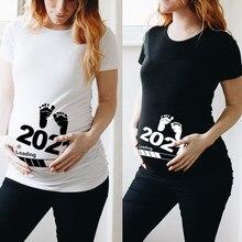 Dziecko ładowanie 2021 kobiet drukowane ciąży T Shirt dziewczyna macierzyński krótki rękaw ciąży ogłoszenie koszula nowa mama ubrania