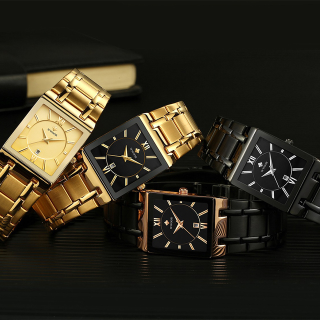 Relogio Masculino WWOOR Gold Watch Men Square Mens Watches Top Brand Luxury Golden Quartz Stainless Steel Waterproof Wrist Watch 6