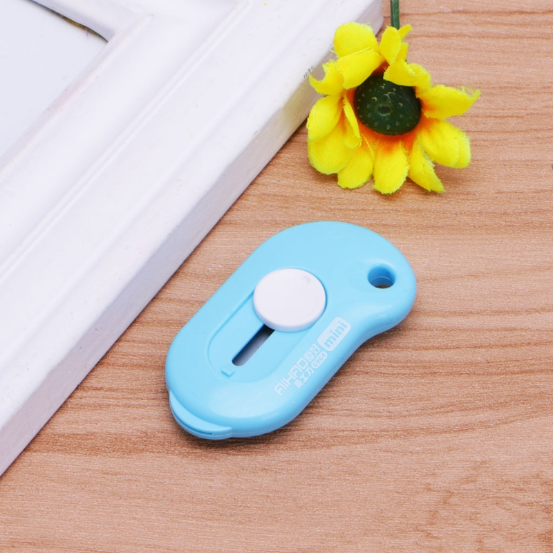 Cute Solid Color Mini Portable Utility Knife Paper Cutter Office Stationery  LX9A