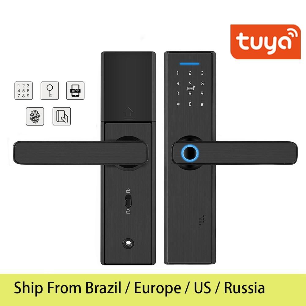 Tuya WIFI Electronic Smart door lcok, With Remotely Control Fingerprint Password RFID Card Digital Lock,Add Brazil warehouse(China)