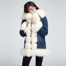 Top Quality White Fox Hair Denim Jacket Hot Thicken Womens Fur Coat Long Winter Warm Mink Hair Liner Real Fur Female Jacket 2020(China)