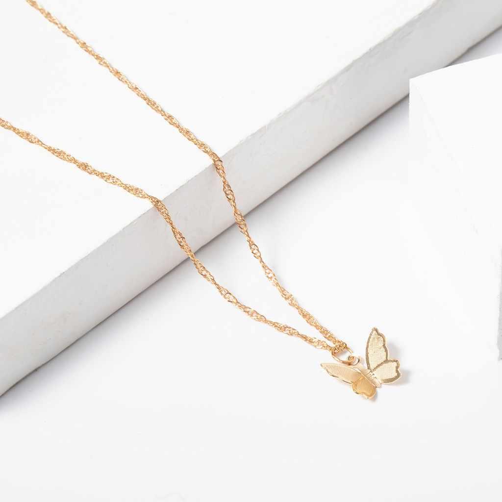 נשים של שרשרת בציר מתכתי זהב גדול שרשרת תכשיטי מתנה אישית מינימליזם פרפר שרשראות נקבה אבזרים
