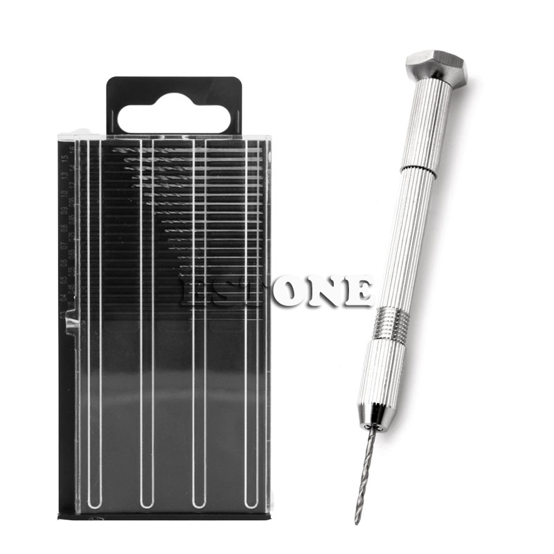 Купить с кэшбэком Mini Spiral Hand Manual Drill Chuck Twist Pin Vise Bits Kits Jewelry Tool